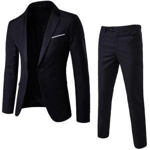 2Pcs/Set Plus Size 3XL Men Solid Color Long Sleeve Lapel Slim Button Business Suit Men Autumn Fashion Solid Slim Wedding Set