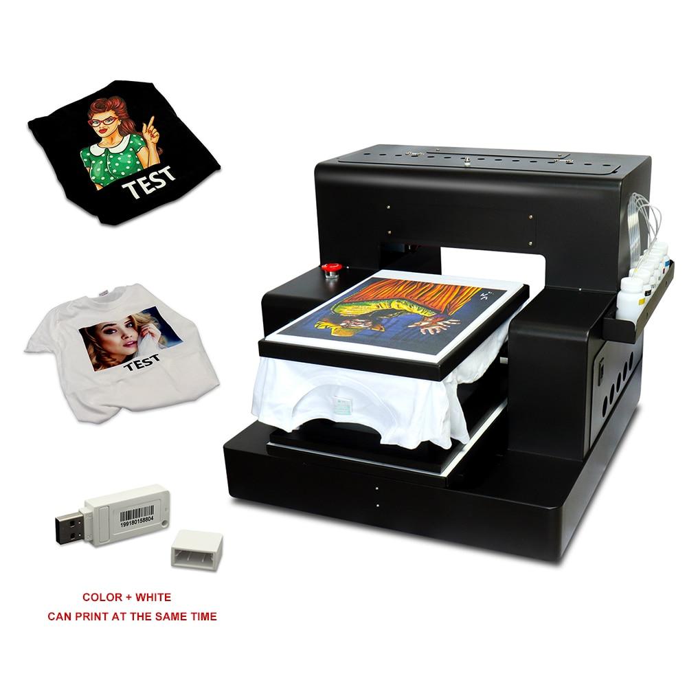 Camiseta automática impresora de inyección de tinta de cama plana A3 dtg impresora ropa impresión para mochilas para zapatos y ropas Jeans, con soporte para camisetas gratis