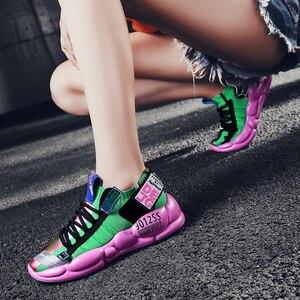 Image 3 - 高 品質の男性と女性のスポーツの靴加硫繊維靴通気性人格ステッチtenis feminino zapatos mujer