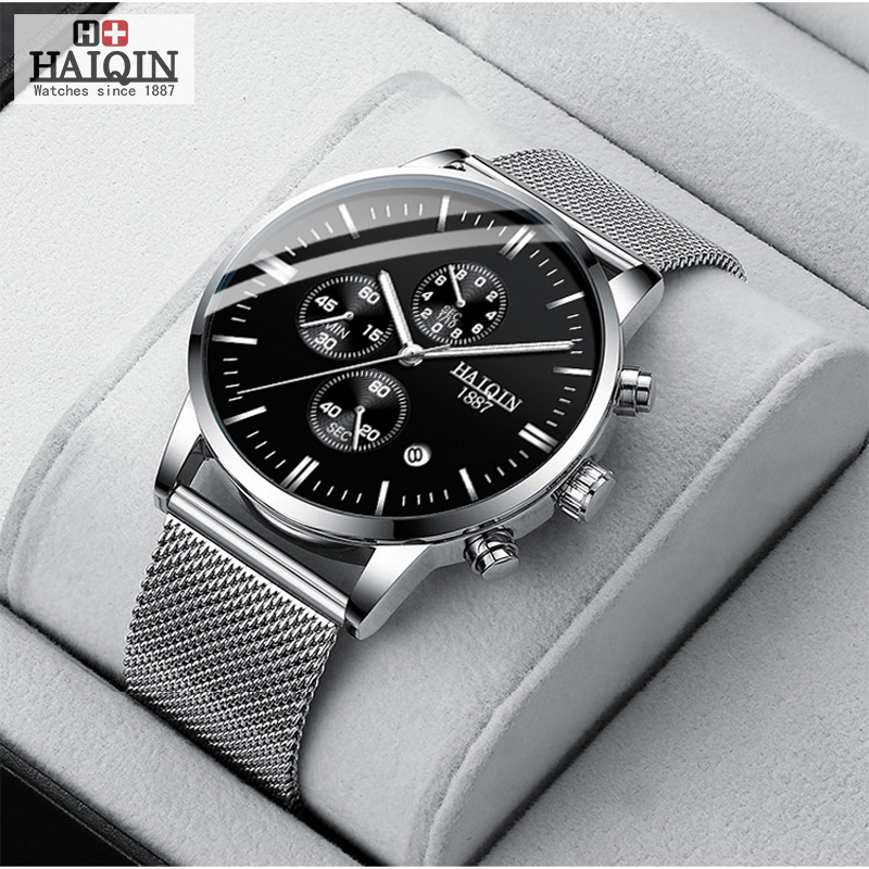 HAIQIN Negócio de Quartzo dos homens relógios Top marca de luxo relógio de Quartzo esportes relógio de pulso dos homens relógio 2019 Relógio cinto de malha masculino