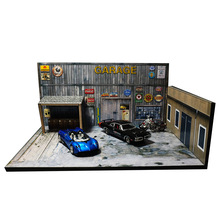 1/64 garage factory warehouse repair house building model car vehicle toy collection parking lot scene background Western Retro