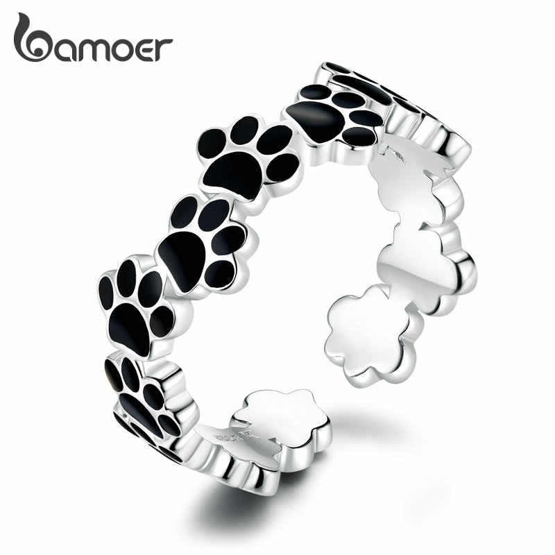 Bamoer แท้ 925 เงินสเตอร์ลิงสีดำสุนัขลูกสุนัข PAW แหวนปรับสัตว์เลี้ยงรักครบรอบของขวัญเครื่องประดับ Fine GXR603