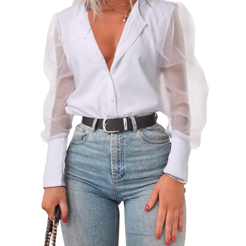 Frauen Langarm Transparent Shirt Rundhals Bluse Mesh Sheer Tops T-Shirt S-5XL
