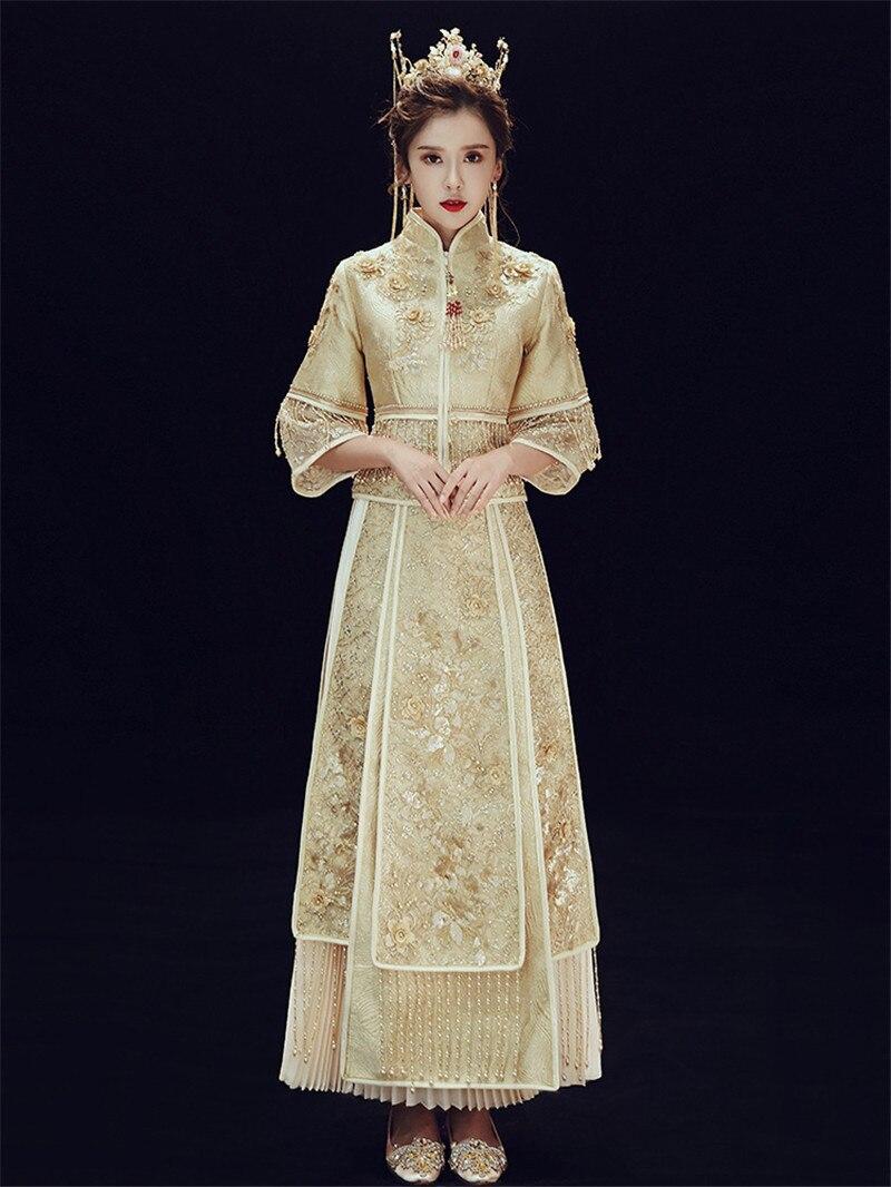 Oversize 20XL Retro Chinese Marry Pleated Skirt Cheongsam High ...