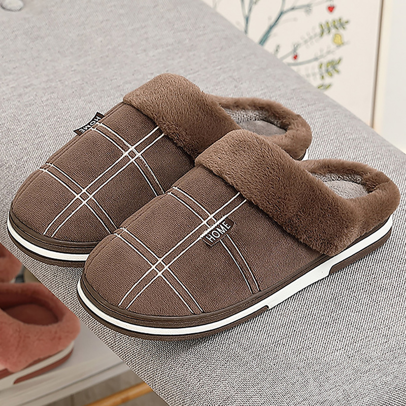 Men's Slippers Home slippers Size 50 Warm Antiskid Sturdy Sole House shoes for men Gingham Velvet Suede Fur slippers 3