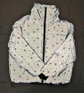 Image 5 - Winter Girls Reflective Jacket Women Streetwear Short Parka Oversize Warm Girls Winter Jacket Bling Snowflake Cotton Padded Coat