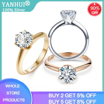 YANHUI Have 18K RGP Stamp Pure Solid White/Yellow/Rose Gold Ring Solitaire 2.0ct Lab Diamond Engagement Wedding Rings For Women yanhui have 18k rgp logo pure solid yellow gold ring luxury round solitaire 8mm 2 0ct lab diamond wedding rings for women zsr169