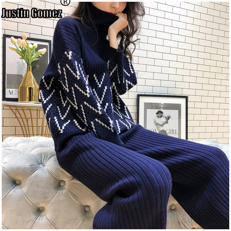 Knit Wide Leg Pants+Jumpers Top Women Two Piece Outfits Bat Sleeve Turtleneck Matching Sets Long Sleeve Casual Clothing Sets