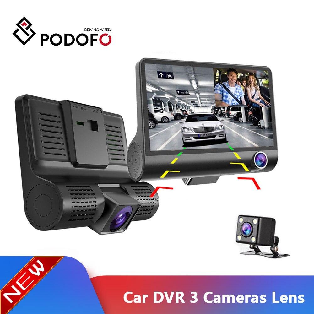 Podofo Car DVR Video-Recorder Rearview-Camera Dashcam 3-Cameras-Lens Auto Registrator