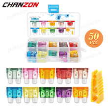 50pcs Car Fuse Set ATC Auto Blade 2A 3A 5A 7.5A 10A 15A 20A 30A 35A 40A Fast Blow Motorcycle Automotive Small Motor Assorted Kit