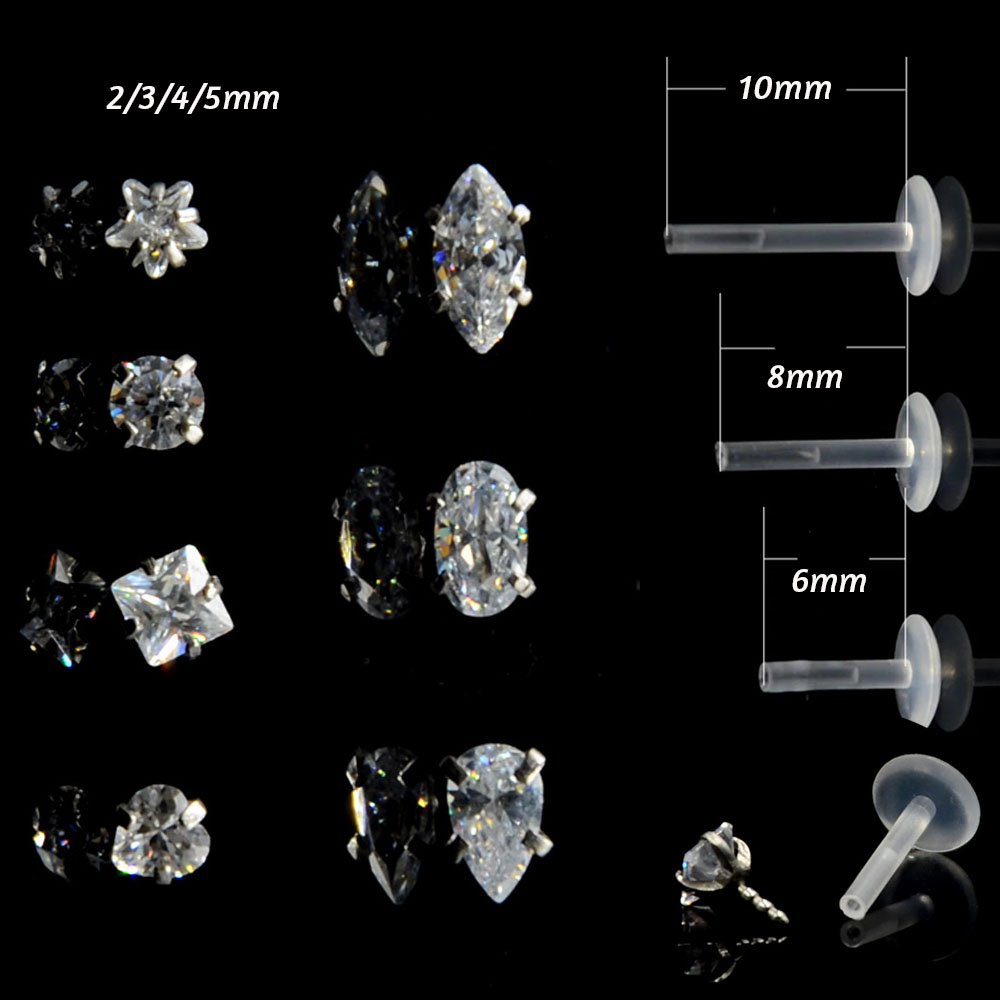 Labios piercing piercing labret bioflex Tragus cristal flor de plata 925