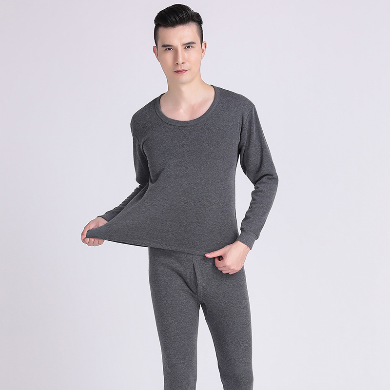 Middle-aged Song Jin Xiu Men Thermal Underwear Tops Pants Crew Neck Solid Color Winter Handsome Dad Men'S Wear