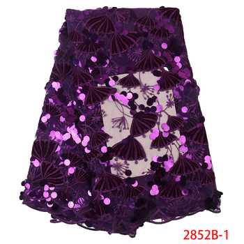 Purple Color Velvet Lace  African Tulle French Net Lace Fabrics Nigerian Wedding Mesh Velvet Lace With Sequin QF2852B-1