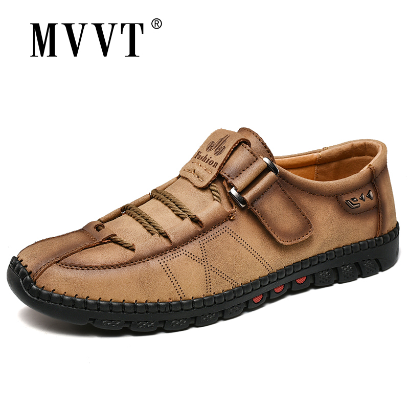 Plus Size 47 Hand-made Men Shoes Split Leather Casual Shoes Hook & Loop Men Loafers Shoes Men Flats
