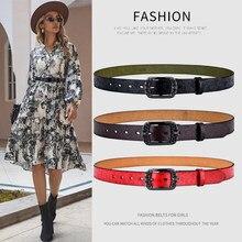 [Lfmb] cinto feminino de couro genuíno moda alta qualidade pino fivelas fantasia cinto vintage nova tendência cinto para mulher