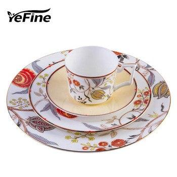 YeFine Advanced Tableware Set Bone Porcelain Cup Kit Set Ceramic Dinnerware Plates Snack Dishes