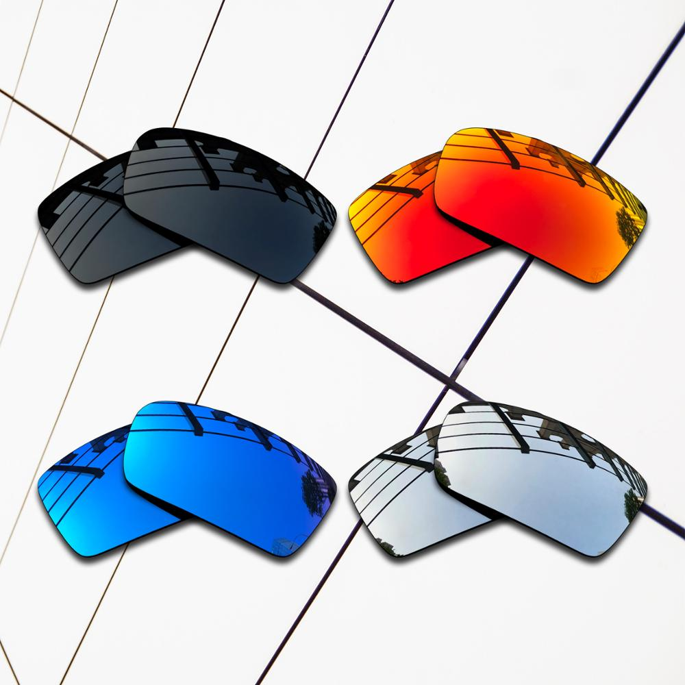 E.O.S 4 Pairs Black & Silver & Ice Blue & Fire Red Polarized ReplacementLensesforOakleyCrankshaft OO9239 Sunglasses