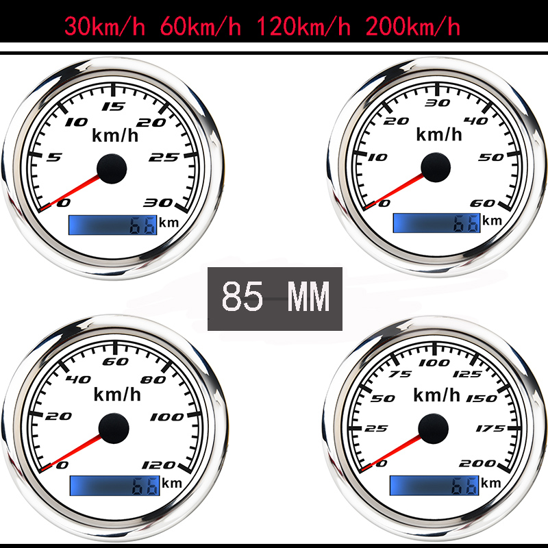 30-200 km/h Car GPS Speedometer Gauge 316 Stainless Steel Bezel Boat Speed meter With GPS Antenna fit for Motorcycle Auto Truck
