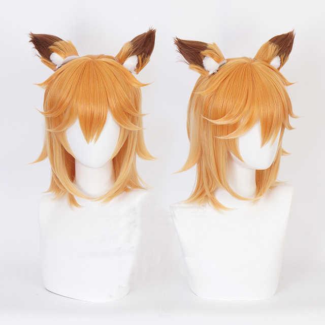 Sewayaki Kitsune no Senko-san Senko คอสเพลย์ชุดวิกผมผมหู Headwear อุปกรณ์เสริม Lolita Gradient หูสำหรับฮาโลวีน