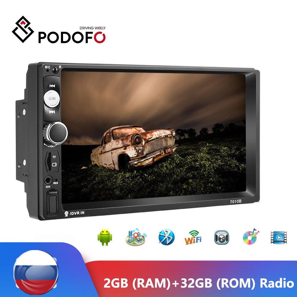 Podofo Android 2 Din GPS Radio samochodowe Stereo 7 ''Autoradio Bluetooth GPS odbiornik radiowy FM odtwarzacz multimedialny 2GB + ROM 32GB Radio samochodowe
