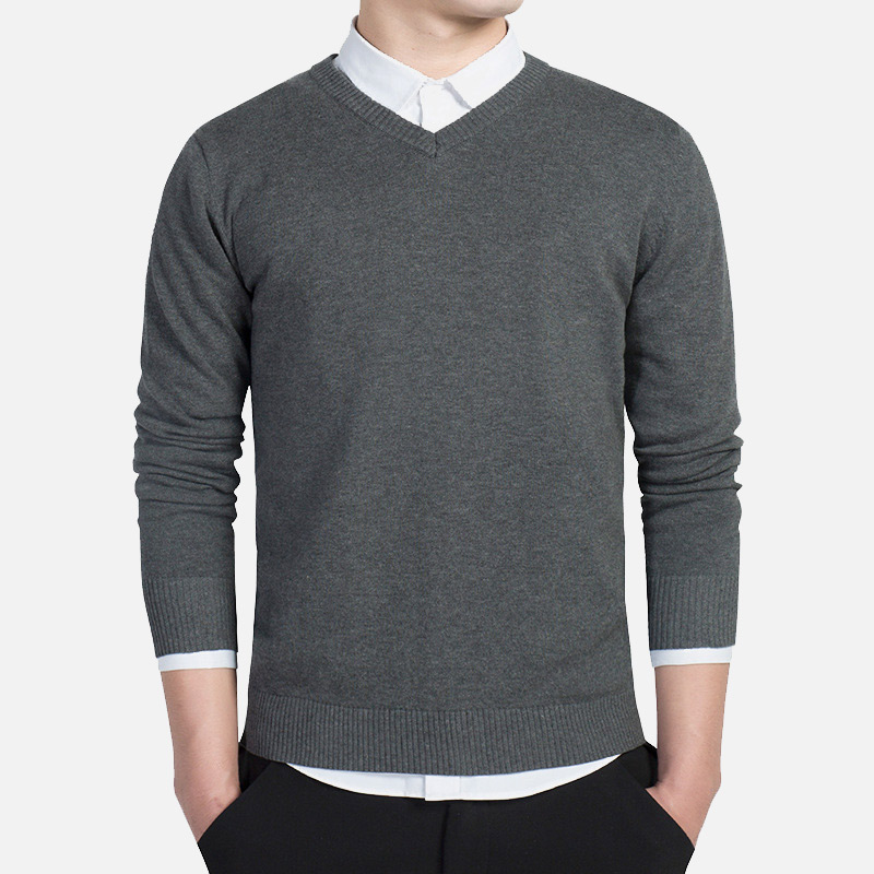 Autumn New Simple Casual Business Men Pullover High Quality Long Sleeve Slim Fit Mens Sweater Plus Size Male Sweaters 2019
