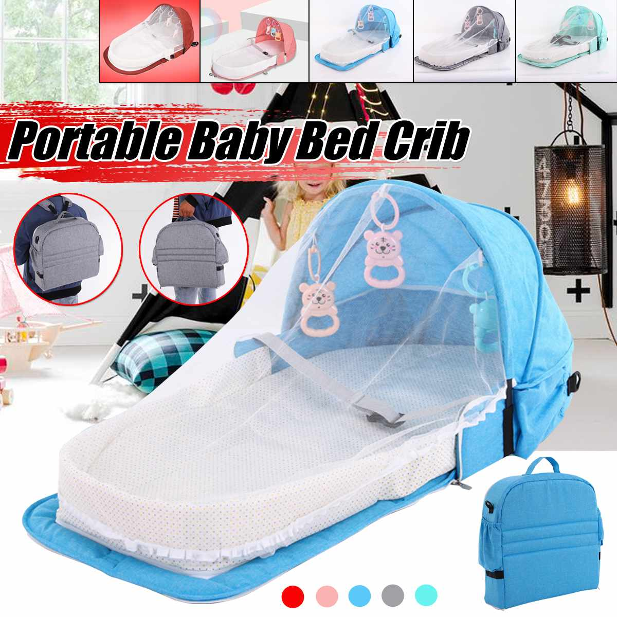 Portable Foldable Baby Bed Multi-function Mummy Bag Travel Baby Crib Cot With Mosquito Net Breathable Infant Sleeping Basket