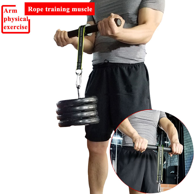 Gym Fitness Biceps Forearm Trainer Arm Triceps Blaster Wrist Roller Power Weight Lifting Rope Gripper Strengthener Equipment