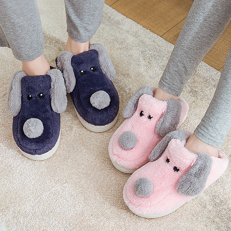 Women Winter Warm Fur Slippers 5d Embroidery Cartoon Dog Soft Sole Men Women Boys Girls House Shoes Home Indoor Bedroom Slippers image
