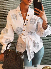 2019 Autumn Women Elegant White Casual Blouse Female Stylish OL Leisure Top Bottoned Surplice Wrap Lantern Cuff Shirt ditsy print surplice wrap blouse