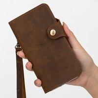 Genuine leather retro vintage flip wallet phone case for Huawei P Smart Z/Huawei P Smart case flip wallet card slot holder funda