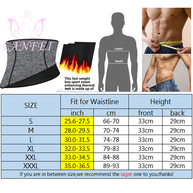 LANFEI Mens Neoprene Waist Trainer Belt Body Shaper Thermo Gym Fitness Modeling Corset Ultra Sweat Slimming Shapewear Fat Burner 2