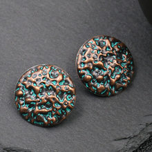 Verdigris Patina Retro Green Hammered Round Stud Earring Bohemian Ethnic Ancient Copper Greek Vintage Women Jewelry(China)