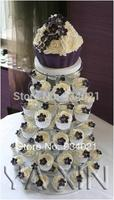 Wholesale 6 Tier Clear Acrylic Cupcake And Cake Tower Display Stand Round Party Acrylic Cake Showcase Show Stand party decoratio