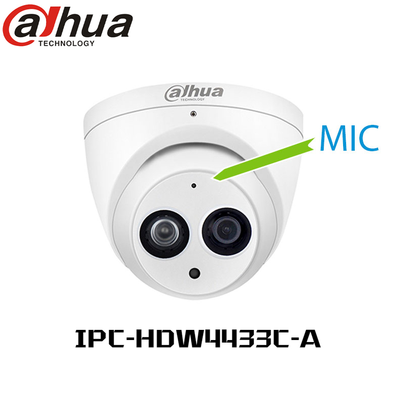 Dahua 4MP POE Cámara IP H.265 multi-idioma IPC-HDW4433C-A Cámara NightVision Eyeball Dome Camera IR 50M WDR Built-in MiC