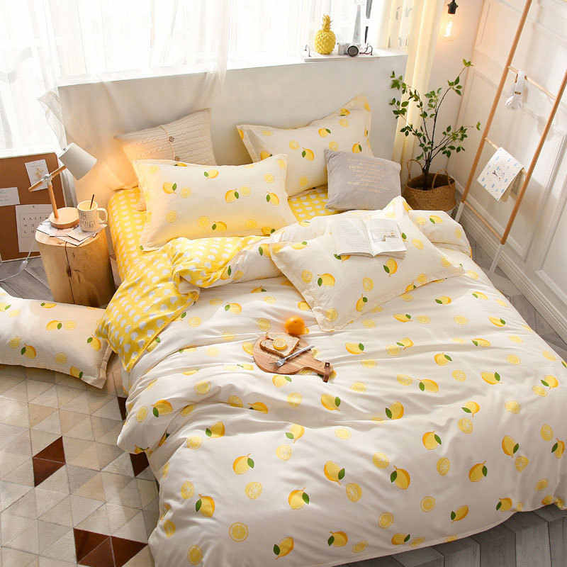 Nordic Plant Flower Star Geometric 4pcs Bed Cover Set Cartoon Duvet Cover Bed Sheets And Pillowcases Comforter Bedding Set 61001