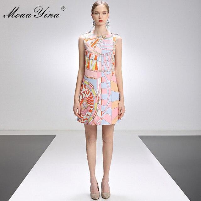 MoaaYina Fashion Designer Dress Summer Women's dress Sleeveless Beaded Geometry Print Short Dresses 2