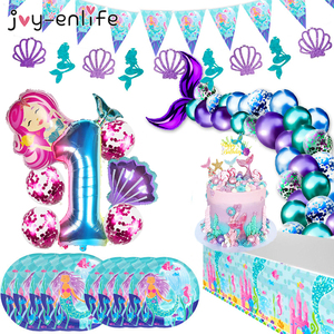 Image 2 - 1st Girl Happy Birthday Party Set Mermaids Party Tableware Paper Cups Plate Latex Balloons stand Baby Shower Party Decorations