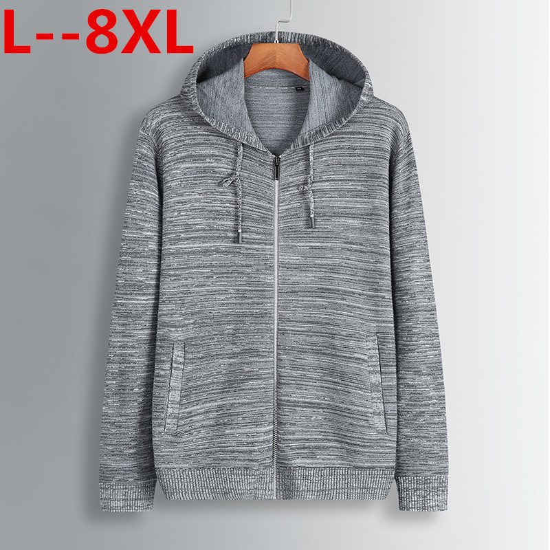 Plus Size 8XL 6XL 5XL 4XL Men's Sweaters Autumn Winter Warm Cashmere Wool Zipper Pullover Sweaters Man Casual Knitwear Cardigan