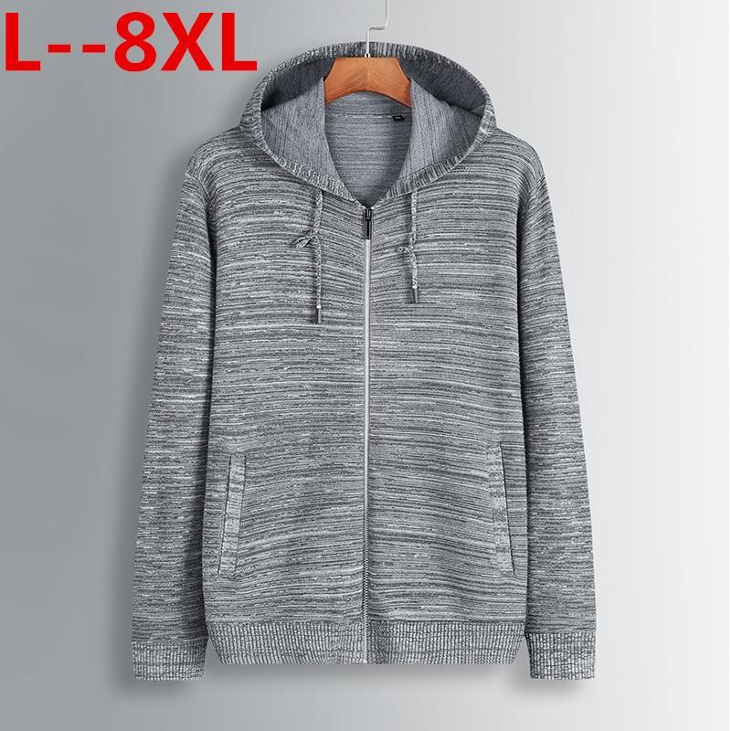 Plus Size 8XL 6XL 5XL 4XL Men's Sweaters Autumn Winter Warm Cashmere Wool Zipper Pullover Sweaters Man Casual Knitwear Cardigan