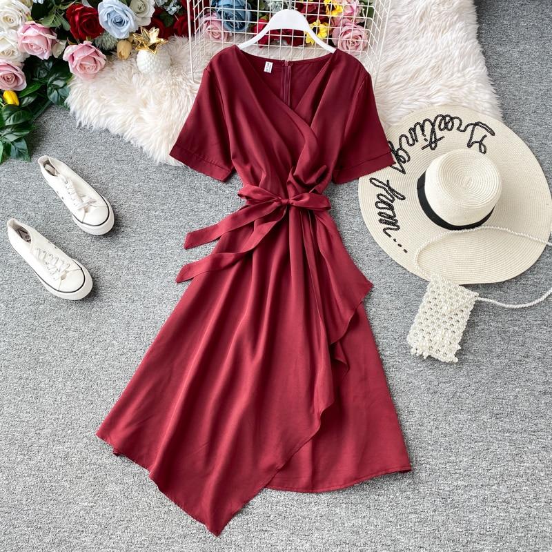 LISM 2020 New Slim Vintage V Neck Bandage Dress Summer Sashes A-line Party Dress Women Casual Irregular Bohemian Dresses Vestido