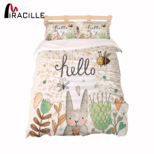 Miracille Cartoon Rabbit Kid Bedding Sets Home Beddingset Children Duvet Cover Bedclothes 3pcs Drop shipping
