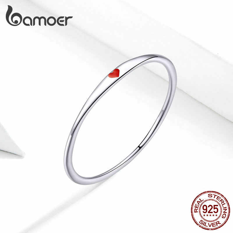 Bamoer Sterling Silver 925 Tiny หัวใจเคลือบสีแดงแหวนสำหรับวงกลมผู้หญิงแฟชั่นเครื่องประดับ Bijoux 2019 ใหม่ SCR620