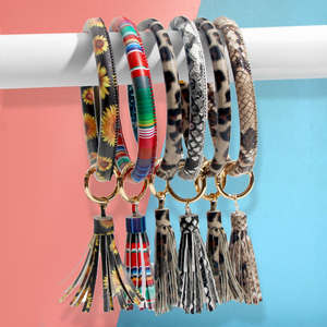 Flatfoosie Key-Chain Wrist-Strap Circle Tassel Custom Multicolor Wholesale Women Girl