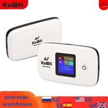 KuWfi Sbloccato 150Mbps 3G 4G LTE Router Wifi Mobile Wifi Hotspot 2400mAH Batteria Con La Carta SIM slot Display LCD Fino A 10 Utenti