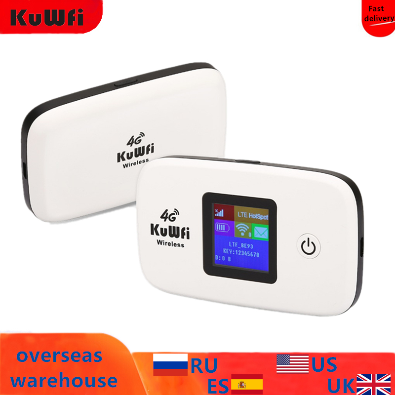 KuWfi Unlocked 150Mbps 3G 4G LTE Wifi Router Mobile Wifi Hotspot 2400mAH Battery With SIM Card Slot LCD Display Up To 10 Users-in 3G/4G Routers from Computer & Office