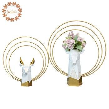 Creative Elegant Deer Vase  Decorative Bastract Resin Vase without Flower Home Model Room Decoration Ornaments