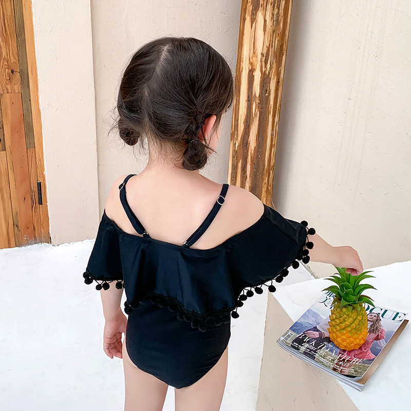2019 New Style Hot Selling GIRL'S Swimsuit INS Korean-style Fashion Child Split Type Cute Little Princess Off-Shoulder KID'S Swi