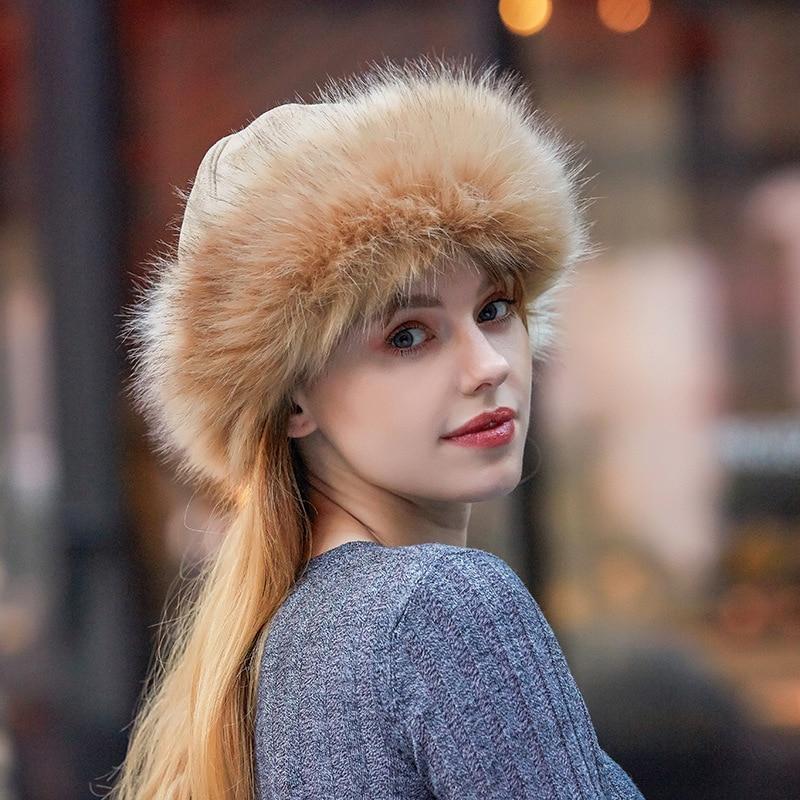 Новая плотная теплая Русская Шапка, Женская замшевая шапка-бомбер, ветрозащитная женская меховая шапка, женская шапка в монгольском стиле, ...