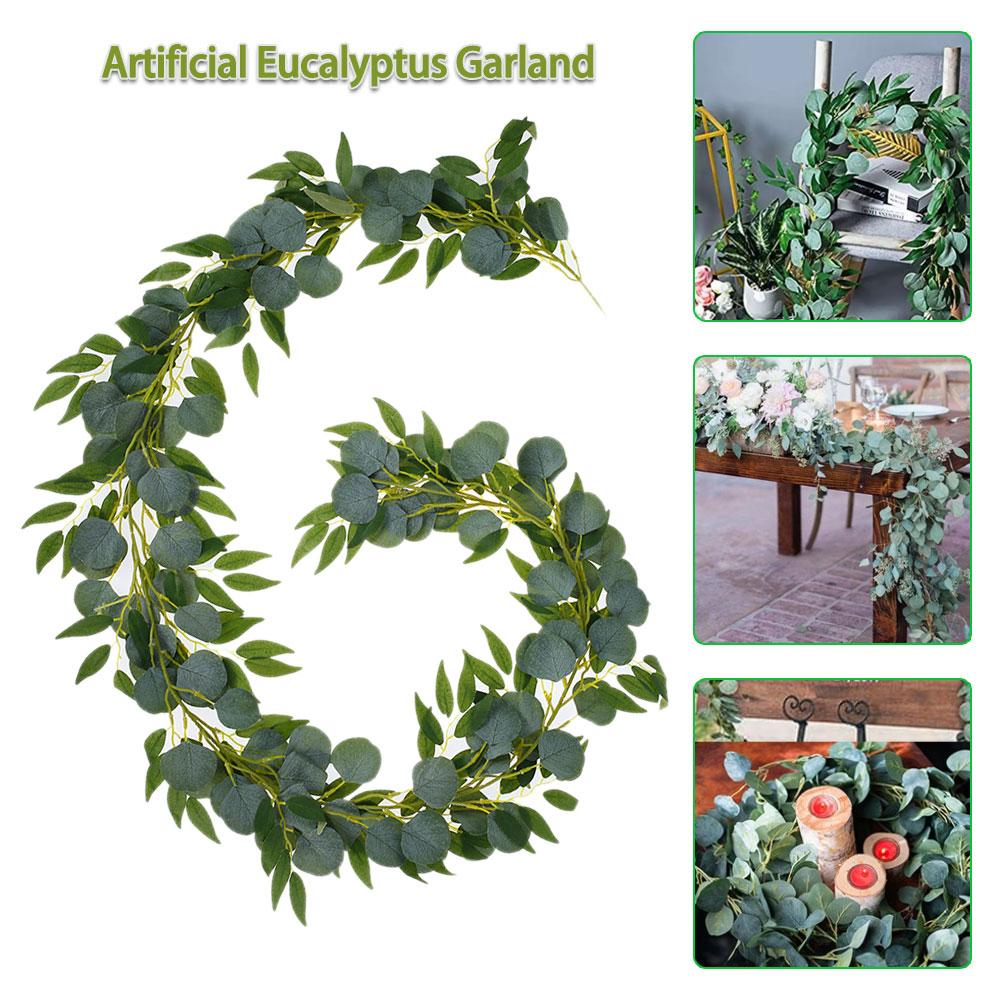 2M Green Eucalyptus Leaves Garland Wisteria Artificial Flowers Rattan Fake Plant Silk Leaf Vines Wedding Birthday Party Decor
