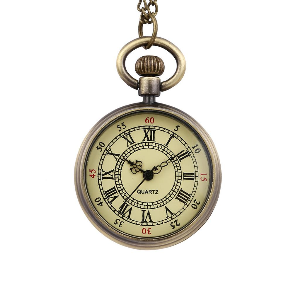 Vintage Round Dial Quartz Small Pocket Watch Classical Roman Scale Pocket Watch Watch Clock Wholesale Relogio De Bolso #4O15